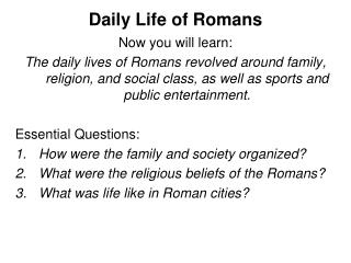 Daily Life of Romans