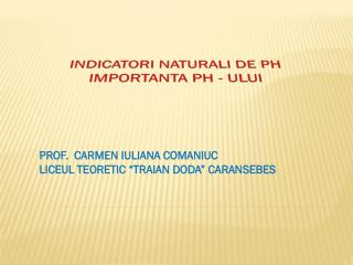 INDICATORI NATURALI DE PH IMPORTANTA PH - ULUI