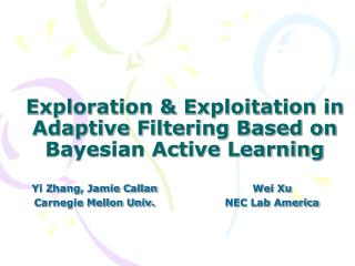 Exploration & Exploitation in Adaptive Filtering Based on Bayesian Active Learning