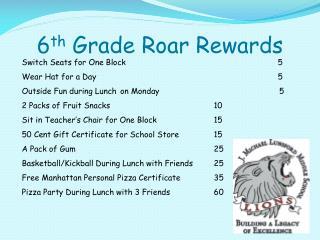 6 th  Grade Roar Rewards