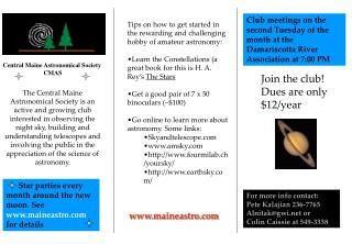 Central Maine Astronomical Society               CMAS