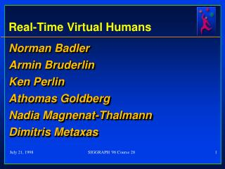 Real-Time Virtual Humans