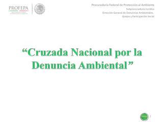 """""""Cruzada Nacional por la  Denuncia Ambiental """""""