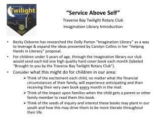 """Service Above Self"" Traverse Bay Twilight Rotary Club Imagination Library Introduction"