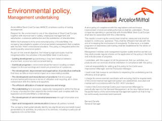 Environmental policy, Management undertaking