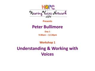 Presents Peter Bullimore Day 1   9.00am � 12.30pm Workshop 1 Understanding & Working with Voices