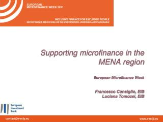 EIB Microfinance Support:  Objectives for the MENA region