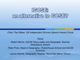 IGCSE:  an alternative to GCSE