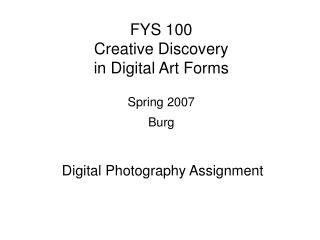 FYS 100 Creative Discovery  in Digital Art Forms Spring 2007 Burg