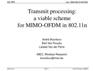 Transmit processing: a viable scheme for MIMO-OFDM in 802.11n