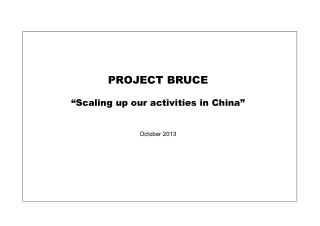 "PROJECT BRUCE ""Scaling up our activities in China"" October 2013"