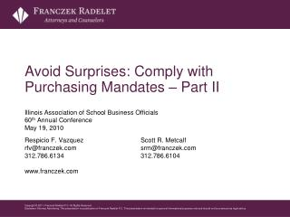 Avoid Surprises: Comply with Purchasing Mandates – Part II