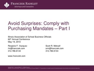 Avoid Surprises: Comply with Purchasing Mandates – Part I