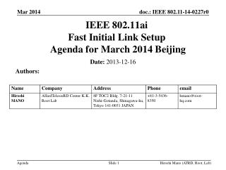 IEEE 802.11ai Fast Initial Link Setup  Agenda for  March 2014 Beijing