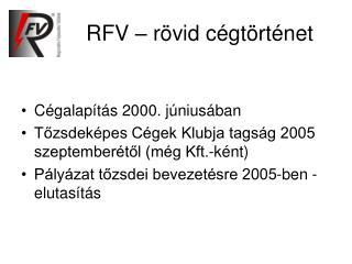 RFV – rövid cégtörténet