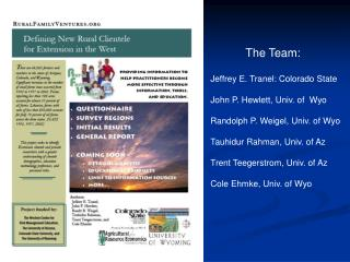 The Team: Jeffrey E. Tranel: Colorado State John P. Hewlett, Univ. of  Wyo