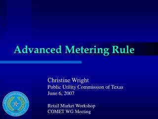 Advanced Metering Rule
