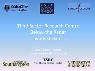 'Below-the-Radar' work stream   One of several work streams, for example: Service delivery