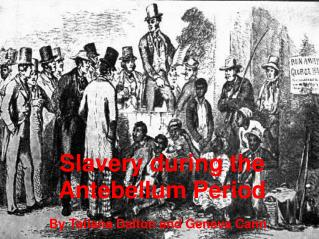 Slavery during the Antebellum Period
