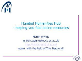 Humbul Humanities Hub - helping you find online resources