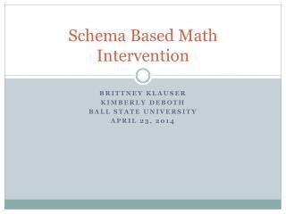 Schema Based Math Intervention