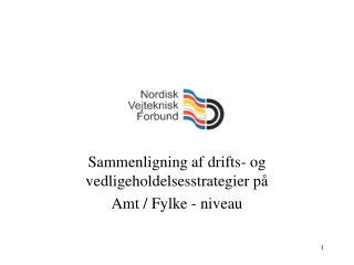 Sammenligning af drifts- og vedligeholdelsesstrategier på  Amt / Fylke - niveau
