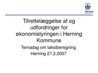 Tilrettelæggelse af og udfordringer for økonomistyringen i Herning Kommune