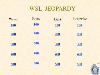 WSL  JEOPARDY
