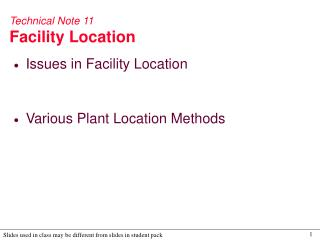 Technical Note 11 Facility Location