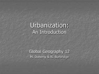 Urbanization: An Introduction