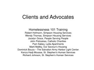 Clients and Advocates