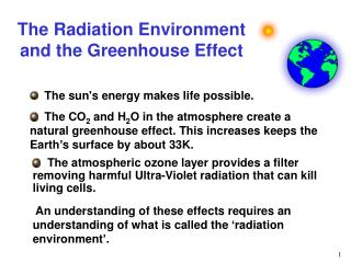 The Radiation Environment and the Greenhouse Effect