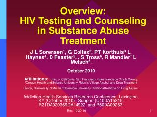 Overview:  HIV Testing and Counseling in Substance Abuse Treatment
