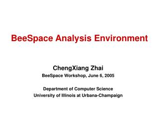BeeSpace Analysis Environment