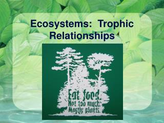 Ecosystems:  Trophic Relationships