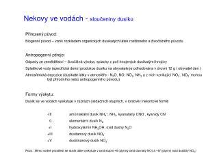 Nekovy ve vodách -  sloučeniny dusíku