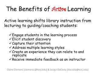 The Benefits of  Active Learning