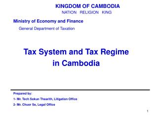 Tax System and Tax Regime  in Cambodia