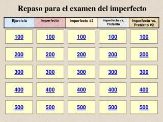 Repaso para el examen del imperfecto