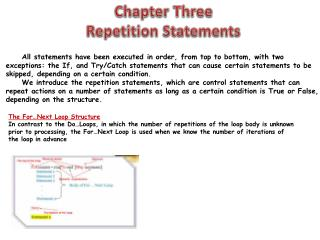 Chapter Three Repetition Statements