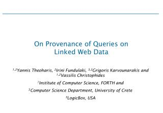 On Provenance of Queries on  Linked Web Data