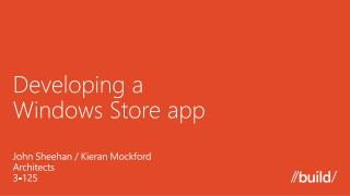Developing a  Windows Store  a pp