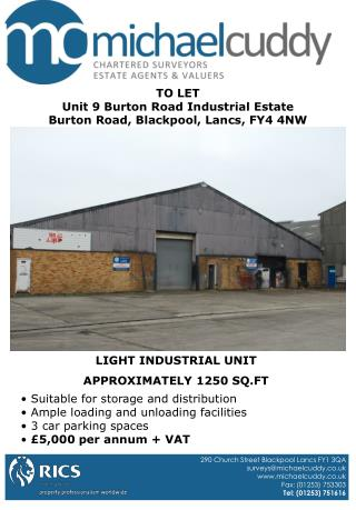 TO LET Unit 9 Burton Road Industrial Estate Burton Road, Blackpool, Lancs, FY4 4NW