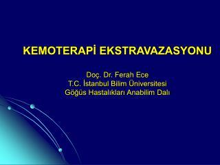 KEMOTERAPİ EKSTRAVAZASYONU Doç. Dr. Ferah Ece T.C. İstanbul Bilim Üniversitesi