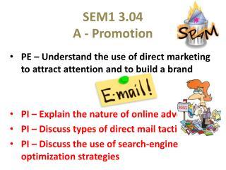 SEM1 3.04 A - Promotion