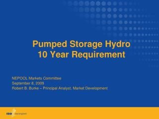 Pumped Storage Hydro 10 Year Requirement