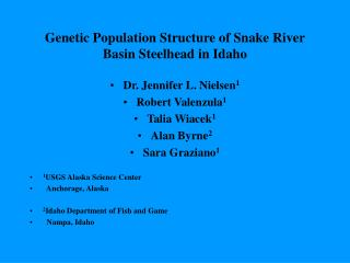Genetic Population Structure of Snake River Basin Steelhead in Idaho