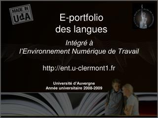 Int gr     l Environnement Num rique de Travail  ent.u-clermont1.fr