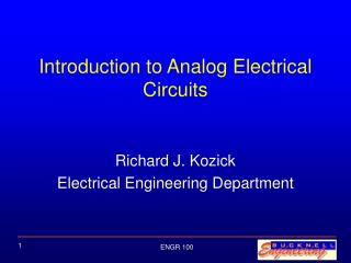 Introduction to Analog Electrical Circuits