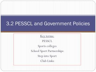 3.2 PESSCL and Government Policies